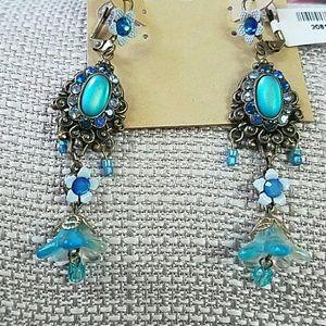 Orly Zeelon Crystal Earrings Blue Turquoise Aqua